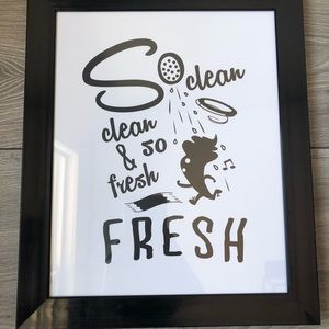 Other - Cute bathroom print with frame